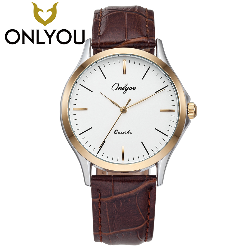 ONLYOU Lovers Watches Women Fashion Watch 2017 Men Business PU Leather Quartz Clock Ladies Casual Waterproof Wristwatch Gift onlyou brand lovers watch women men quartz genuine leather wrist watches fashion business female male clock with calendar 81092