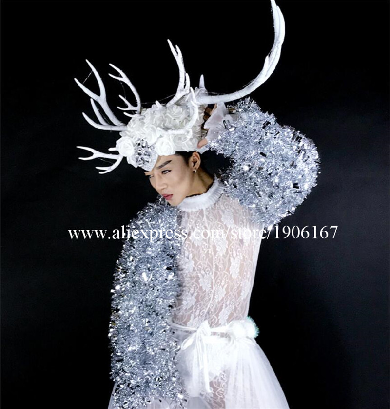 DS dance team Christmas white costumes large antlers LED headwear costumes04