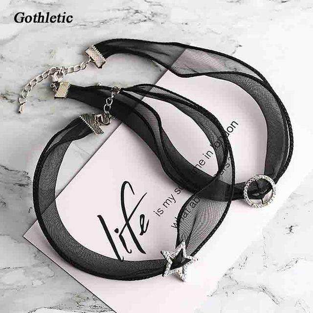 53365ee7bc78 Gothletic 2019 nueva moda tela gargantilla translúcido de gasa Sexy encaje  gargantilla círculo geométrico estrella Collar