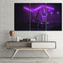Wall Modular Picture Home Decorative Framework 3 Panel Car Purple Retro Wave Painting Modern Canvas HD Prints Artwork Poster