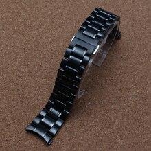 Загнутым концом Ремешок Для Часов 18 мм 19 мм 20 мм 21 мм 22 мм Черный серебристый Пряжки Застежка для Бренда часы мужчины Драйверов Аксессуары горячие