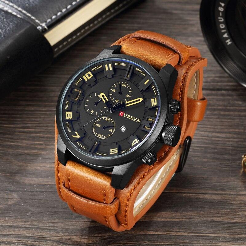 Relogio reloj militar los hombres reloj de cuarzo relojes para hombre marca de lujo de cuero, reloj de pulsera deportivo fecha reloj 8225