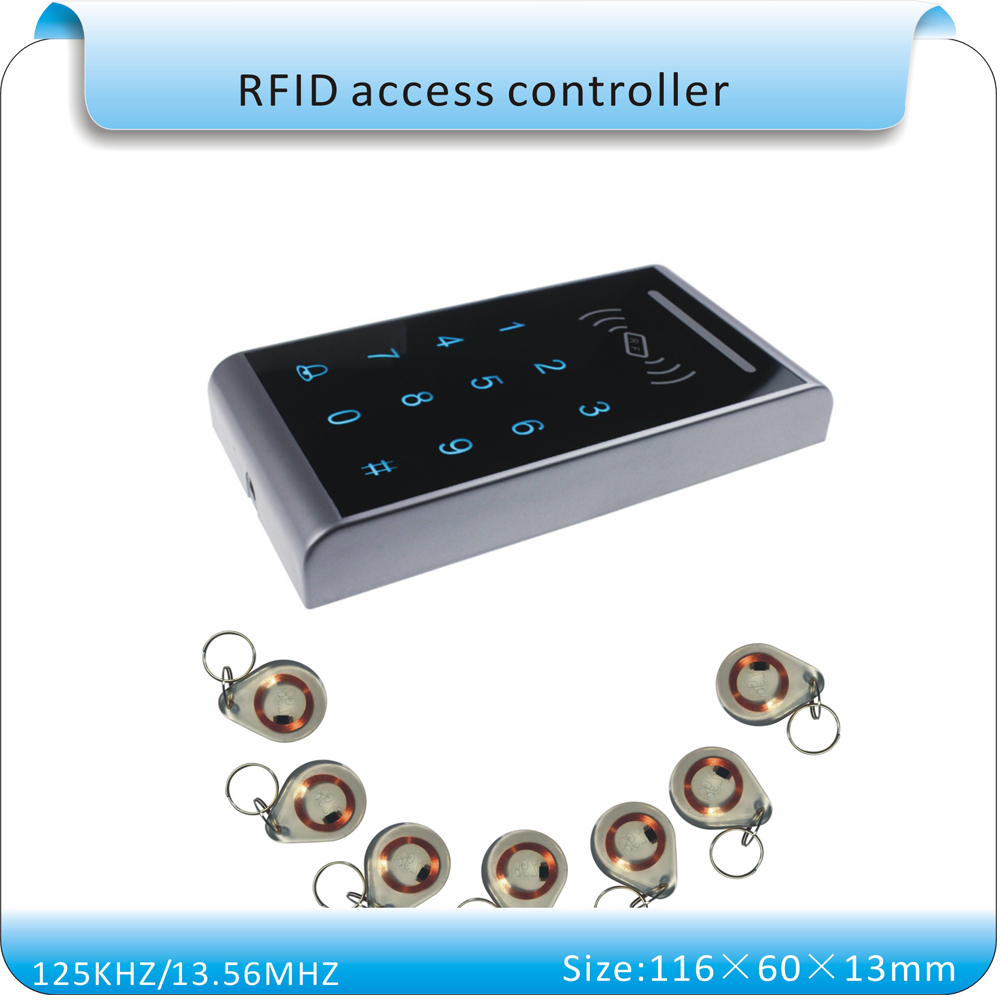 ФОТО Free shipping sy-k3 LED touch keyboard 13.56MHZ RFID access control system number keyboard wg26 port+10pcs keyfobs