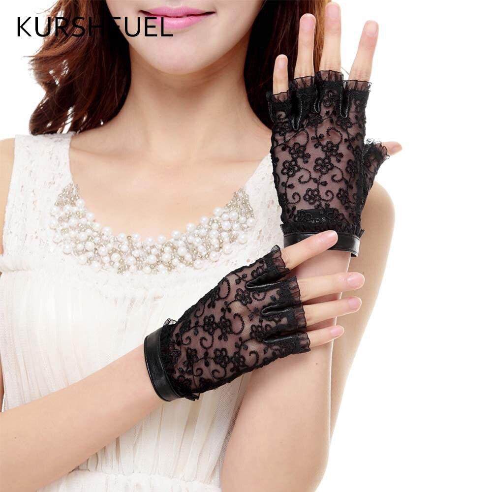 Womens leather gloves purple - Kursheuel Half Finger Women Lace Genuine Leather Gloves Female Fingerless Driving Glove Black Purple Dance Gloves