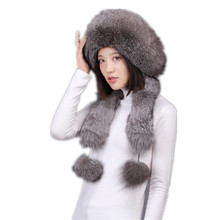 Russian fur hats for women winter natural fox fur &rex rabbit fur caps with earflap & fur pom pom warm thicken scarf  H151