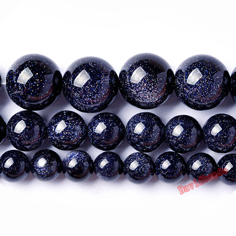 "Factory Price Natural Blue SandStone Round Loose Beads 16"" Strand 4 6 8 10 12 MM Pick Size For Jewelry Making(China)"