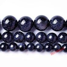 """אבן חול כחול טבעי מחיר מפעל העגול Loose חרוזים 16 """"גדיל 4 6 8 10 12 מ""""מ לבחור גודל להכנת תכשיטים"""