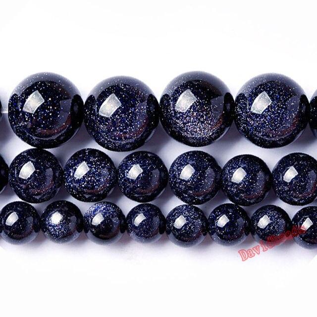 """Prix usine naturel bleu grès rond perles en vrac 16 """"brin 4 6 8 10 12 MM Pick Size pour la fabrication de bijoux"""