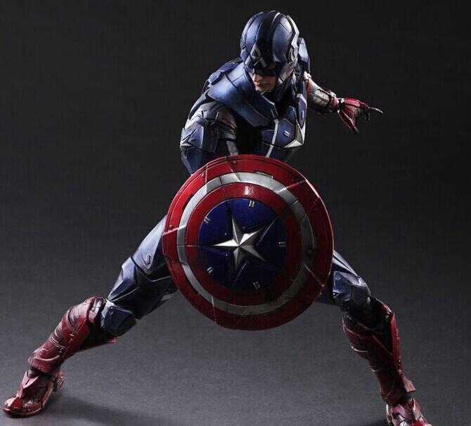 Play Arts Kai Captain America Steve Rogers Super Hero Iron Man PA 26cm PVC Action Figure Doll Toys Kids Gift Brinquedos
