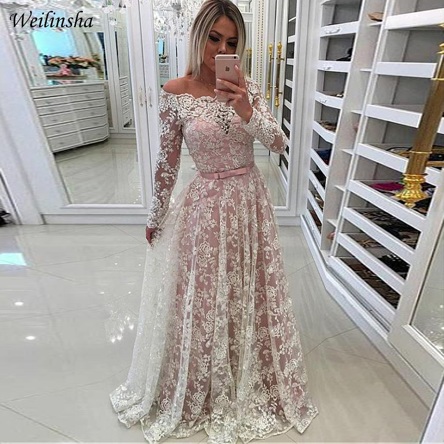 Weilinsha Long Sleeves Arabic Evening Dresses Boat Neck A-line lace Prom Gowns Formal Party Dress