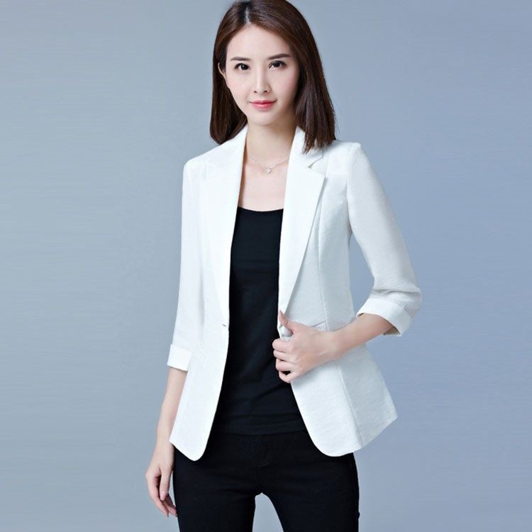Autumn Female Casual OL Single Button Slim Fit Blazer Women Jacket Black/White/Rose/Blue Office Wear Elegant Lady 3/4 Sleeve