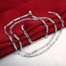 e1d30d3af26c Venta al por mayor plata 925 collar joyería de moda de plata Figaro cadena  4mm mujer
