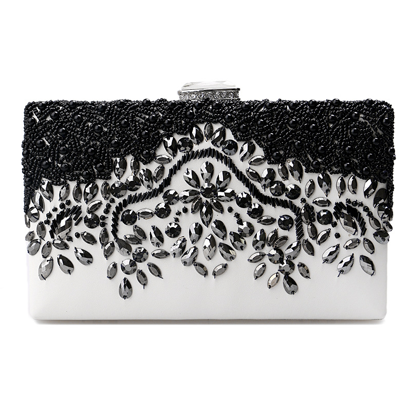 Luxury Embroidery Beads Lock Dress Formal Handbag Woman Wristlets Day Clutch Lady Wedding Evening Shoulder Bag Small Purse