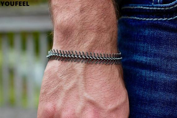 2017 Oxidized Silver Snake Bracelet Men S Chain Masculine Jewelry