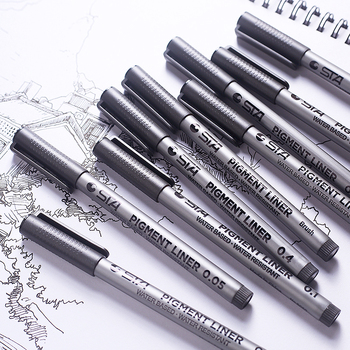 1-Piece Pigment Liner Pigma Micron Ink Marker Pen 0.05 0.1 0.2 0.3 0.4 0.5 0.6 0.8 Different Tip Black Fineliner Sketching Pens