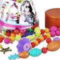 Contas Perler Contas Set DIY Kid Pop Brinquedo Snap Em Conjunto de Jóias moda Kit 160 Peças Diy Educacional Brinquedo do Miúdo Presente do Ofício Conjunto