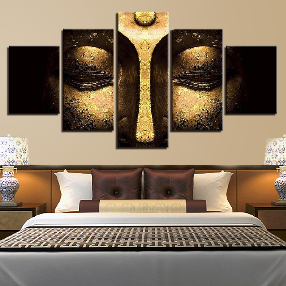Wall Art Popular Abstract Canvas Painting Decorative 5 Panel Buddha Framework Modular Pictures For Living Room Bedroom Prints