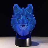 3D Lamp Visual Light Effect Touch Switch Colors Changes Night Light (Wolf)