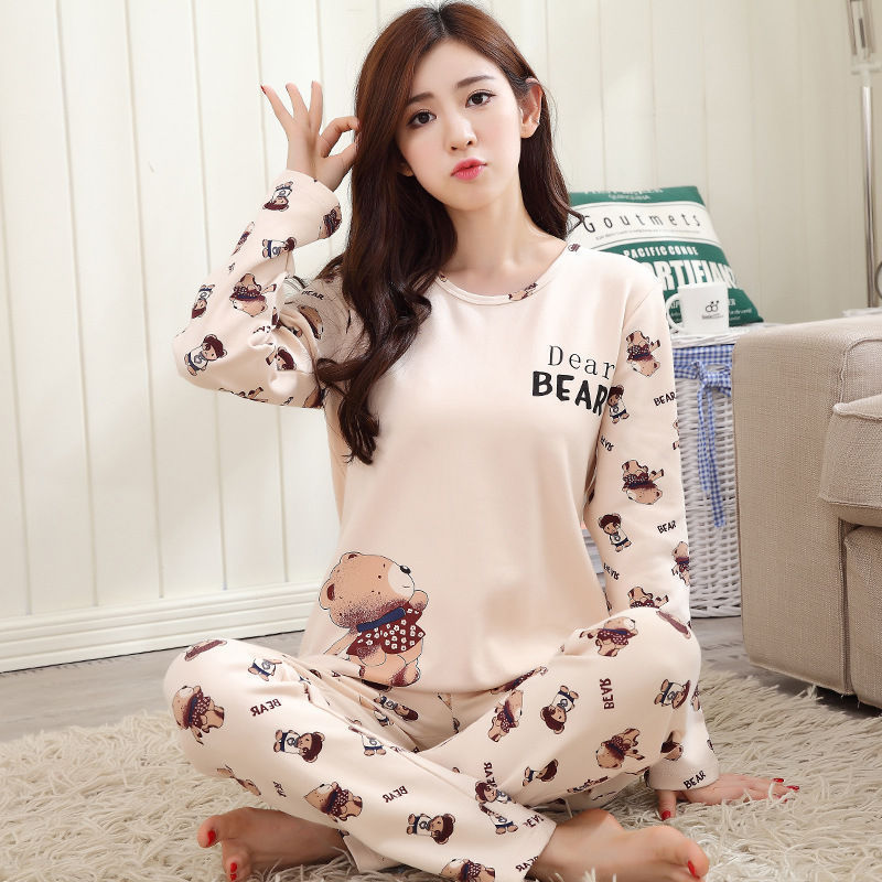 2019 Women Pajamas Sets Autumn Winter New Women Pyjamas Cotton Clothing Long Tops Set Female Pyjamas Sets NightSuit Mother Sleep 125