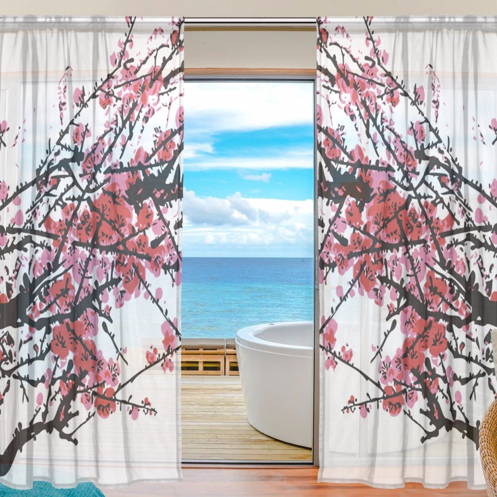 Sheer Curtain Door Panels 55x7855x84 Inch,Polyester Fabric Window Curtains Sheers 2 Panels Set,Pink Plum Blossom Flower Chinese
