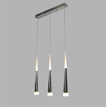 Acrylic Silver LED Pendant Light Lamp With 3 Lights Modern For Dining Room, Lampara Lustres E Pendente De Sala Teto