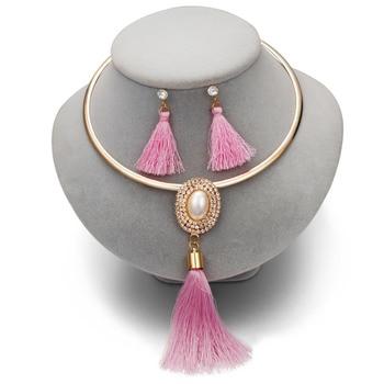 Tassel  Boho Pearl Chocker Necklace Crystal Drop  Jewelry Set  3