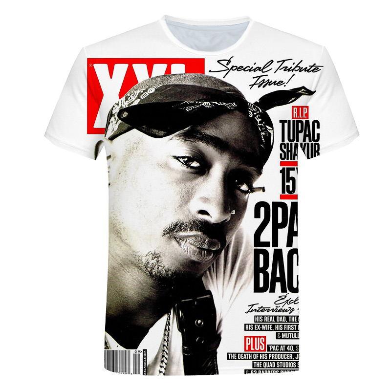 Hip Hop T-shirt Dos Homens de 2019 Nova Moda 3d t-shirt Impressão Rapper Tupac Amaru Shakur/2Pac Verão Tops Tees Soltos t shirt homens M-5XL
