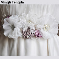 Mingli Tengda 2018 New High Quality Handmade Wedding Dress Belt Flowers and Beading Belt Bridal Belt For Women ceinture mariage