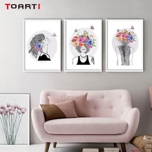 Abstract Girl Head With Flowers Canvas Painting Wall Art Poster And Prints Picture For Home Decoration Accessories No Frame