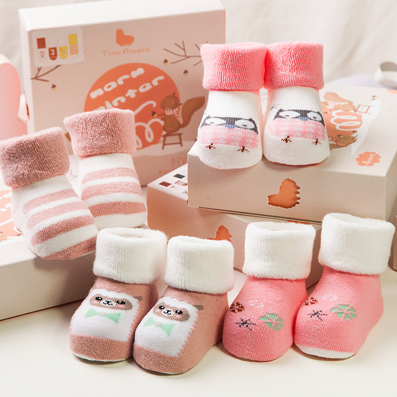 0-2years Winter new thick terry baby socks, warm cotton children socks, cartoon children socks,Newborn socks 4 pairs of a box one set winter thick socks