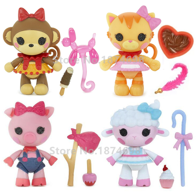 New Mini Lalaloopsy Pet Pals 4pcs Set Figure Toy Doll Collection