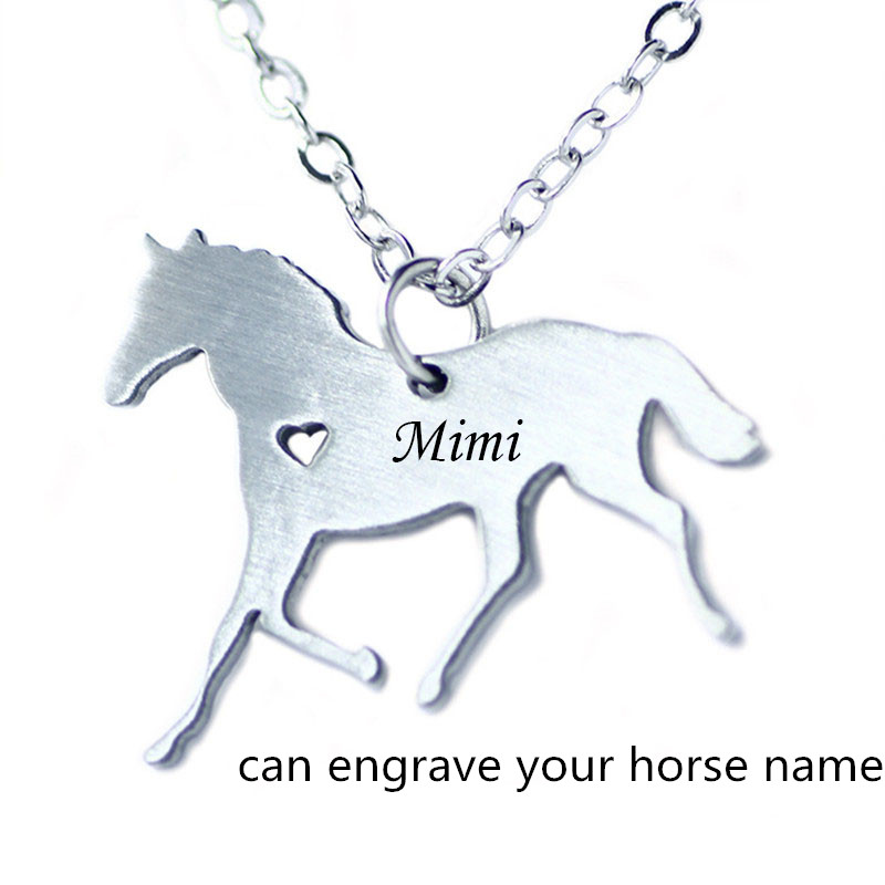 Custom Horse Necklace Stainless Steel Jewelry Engrave Horse Name Pet Jewelry Custom Logo Animal Horse Necklace