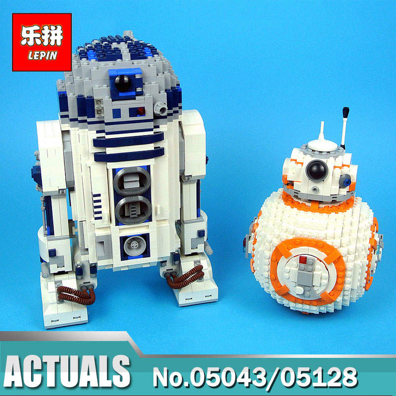 Lepin Wars on Star 05043 UCS R2 Set D2 Lepin 05128 BB 8 Robot Set Compatible Legoinglys 75187 10225 Building Blocks Toys for Boy цена