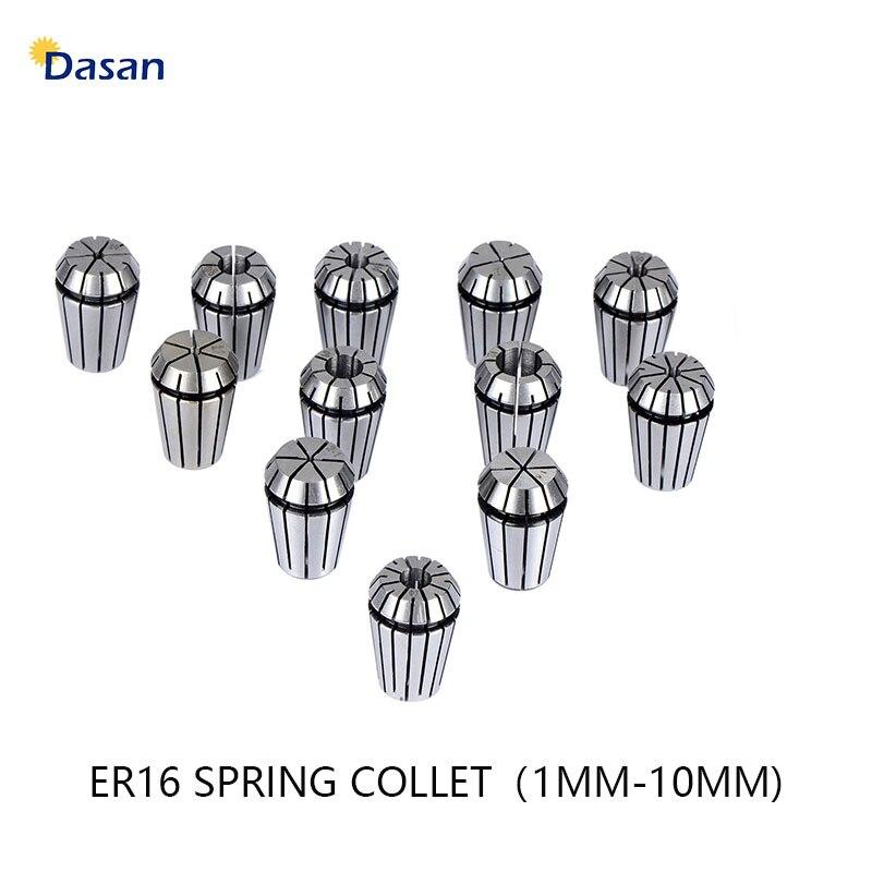 12Pcs ER16 Spring Collet Set 1 1.5 2 2.5 3 4 5 6 7 8 9 10mm Drilling Machine Spindle ER16 Collet for CNC Collet Chuck Holder набор кистей из щетины круглые 1 2 3 4 5 6 7 8 9 10 11 12 12 шт