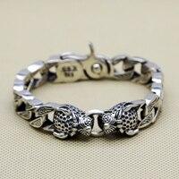 Двойной головы леопарда кусок браслет Для мужчин 64.1 г 100% чистого твердого серебра 925 Топ Мода старинное серебро 925 ювелирные изделия для муж