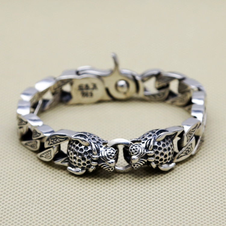 Double Leopard Head Chunk Bracelet Men g  Pure Solid Sterling Silver