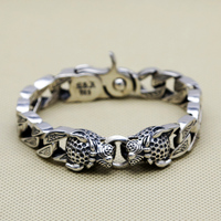 Double Leopard Head Chunk Bracelet Men 64.1g 100% Pure Solid Sterling Silver 925 Top Fashion Antique Silver 925 Jewelry Men Gift