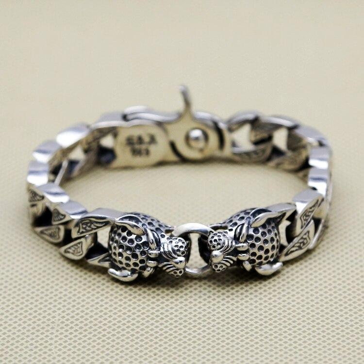 Double Tête de Léopard Chunk Bracelet Hommes 64.1g 100% Pur Solide Sterling Argent 925 Top Mode Antique Argent 925 Bijoux Hommes cadeau