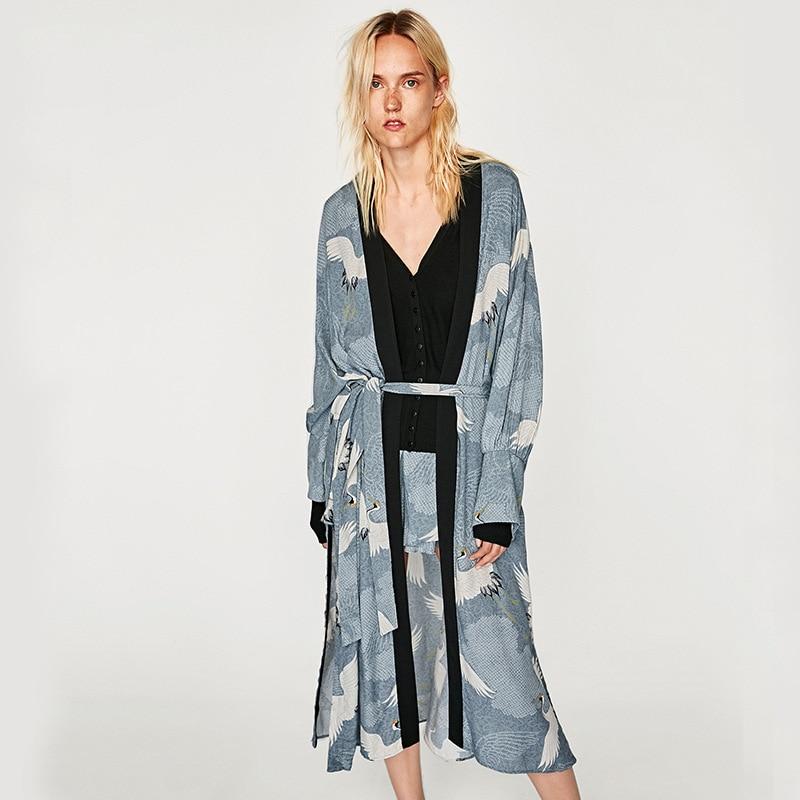 Kimono Cardigan Casual Womens Tops And Blouses Kimono Cardigan Plus Size Crane Print Kimono Long Sleeve Tie Jacket