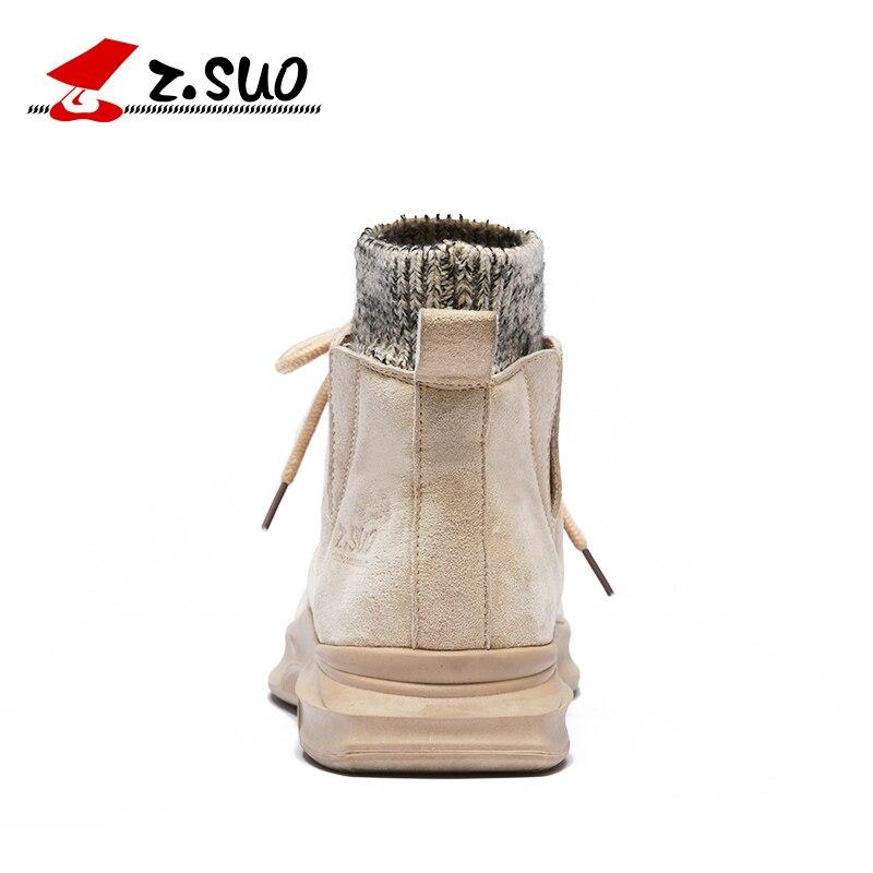 Sandy Genuino Cómodo Hombre Nuevos Tobillo Zapatos Botas Hombres Marca Calcetín Diseño Zsuo Los Primavera Cuero Apertura De Moda FqUxwST