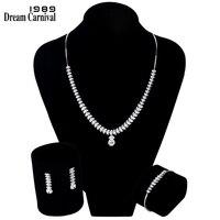 DreamCarnival 1989 листья подвеска в форме капли Цепочки и ожерелья серьги 925 пробы Серебристый Белый CZ Для женщин свадебный подарочный набор SN06121R