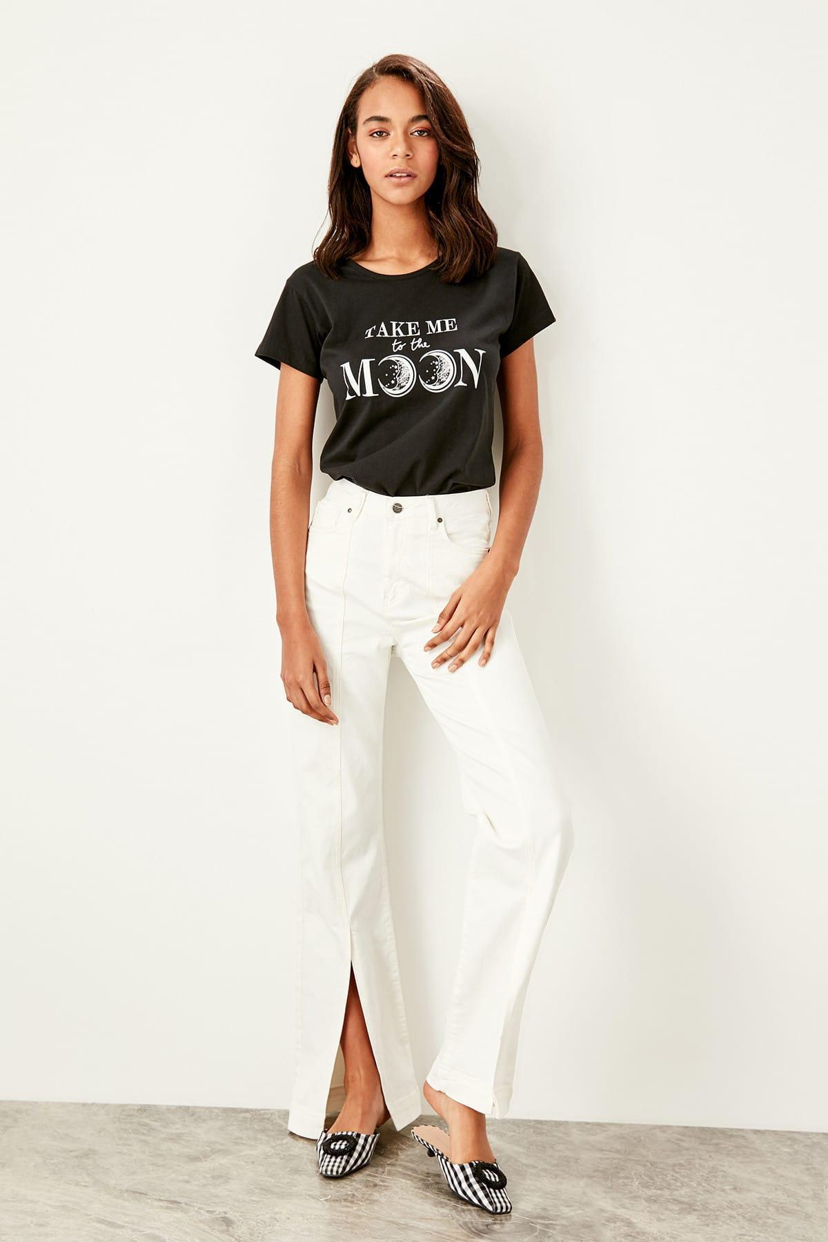 Trendyol White Slash Detailed High Bel Wide Leg Jeans TWOSS19TQ0022
