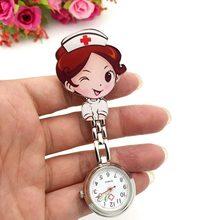 Adorável super bonito dos desenhos animados menina padrão luz luminosa agulha movimento de quartzo enfermeira padrão relógio de bolso bom presente