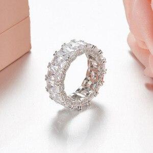 Image 3 - Sljely 925 prata esterlina brilhando quadrado completo zircônia cúbica cristal anéis de dedo feminino casamento luxo marca design jóias