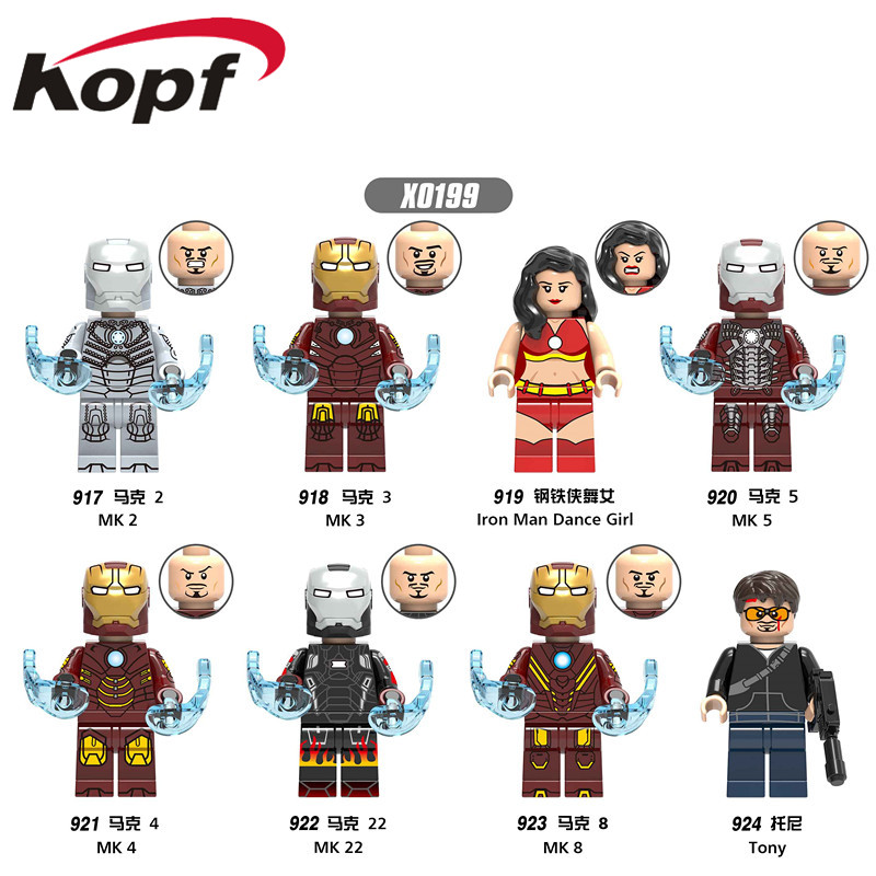 Single Sale Super Heroes Figures Iron Man Dance Girl Series MK 2  Building Blocks Bricks Dolls Toys For Children X0199