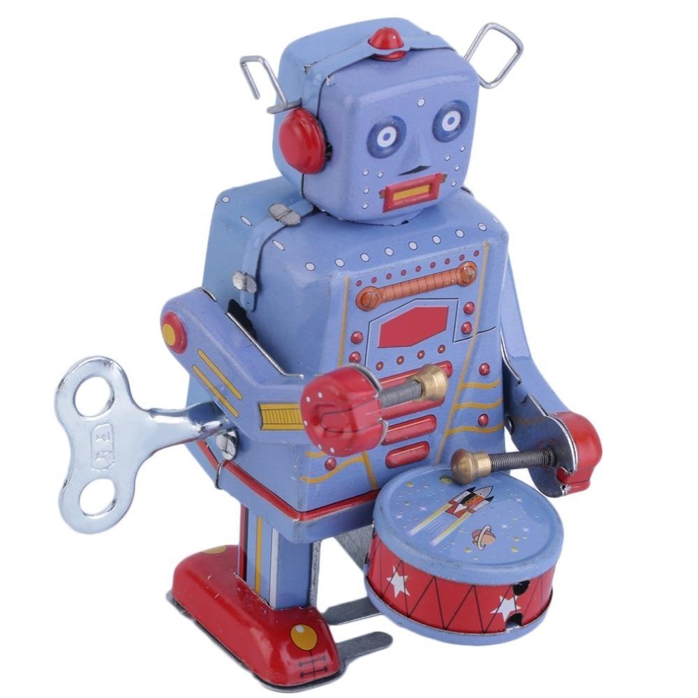все цены на Kids Vintage Metal Toys Action Fingure Tin Drumming Robot Clockwork Wind Up Tin Toy Collectible Iron toy Drum Robots Boy Gift