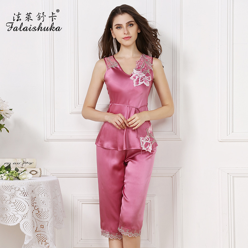 women new brand 100% silk sleeveless knee length pajama sets rose red fashion ca