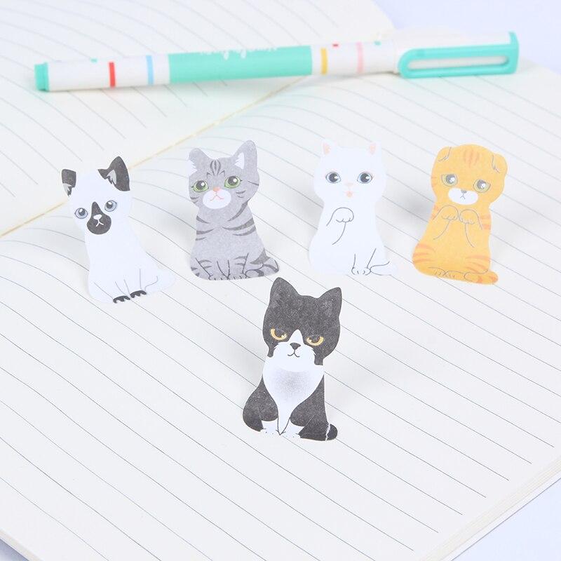 30 Sheets Creative Cute Cardboard Box Cat Easy To Post Cute Kitten Sticky Notes Cartoon Kawaii Gifts School Supply