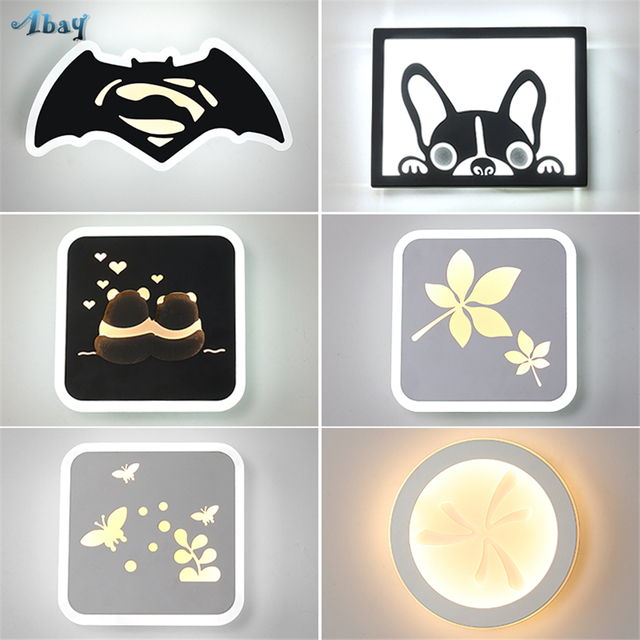 Nordic Bat Puppy Acrylic Wall Lamp For Living Room Bedroom Lights Creative Art Lique Led Home Deco Children Bedside