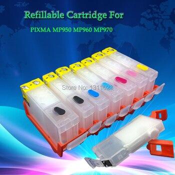 PGI-5BK CLI-8BK 8C 8M 8Y 8PC 8PM chipped refillable cartridges for CANON PIXMA MP950 MP960 MP970,7PCS 1 SET,FREE SHIPPING фото